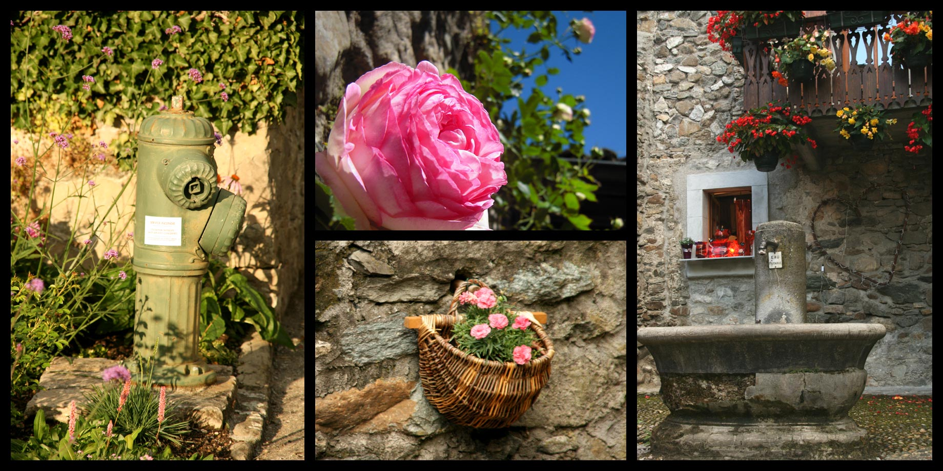 Flowers and old rocks are everywhere in the village.