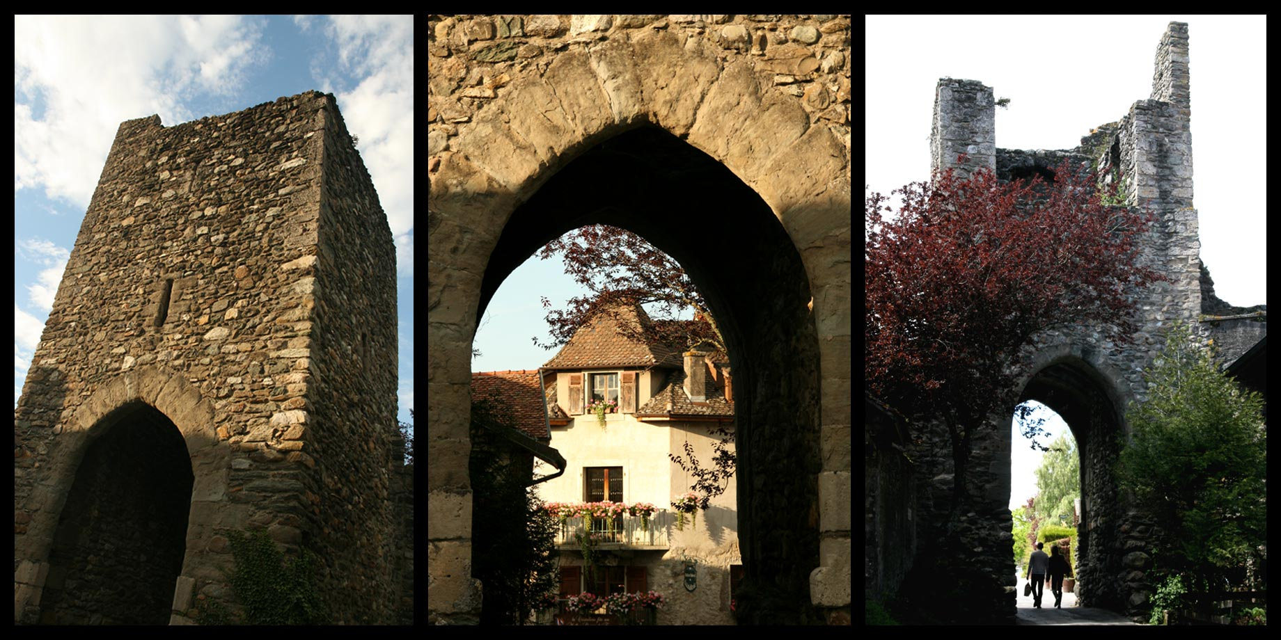 The Gate of Geneva and the ramparts of the medieval village of Yvoire.