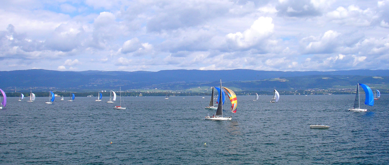 Sailing boats of Bol d'Or Mirabaud in Yvoire on Lake Léman.