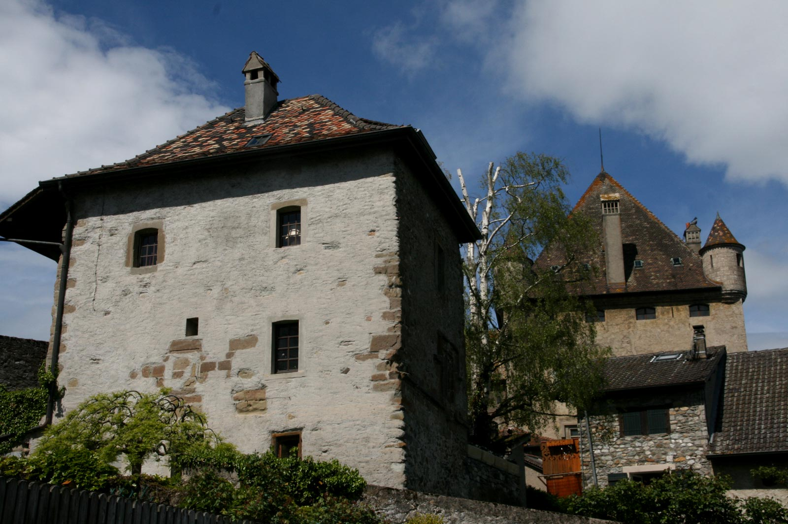 Watchtower of the medieval village and Yvoire castle.